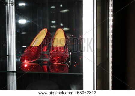 "LOS ANGELES - MAY 14:  Ruby slippers made from Wizard of Oz specification at the ""Debbie Reynolds: The Auction Finale"" VIP Reception at Debbie Reynolds Dance Studio on May 14, 2014 in No Hollywood, CA"