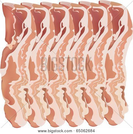 A vector and isolated image of bacon strips