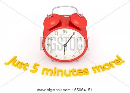 A red alarm clock with text