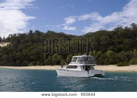 A Yacht Stops Off At Moreton Island