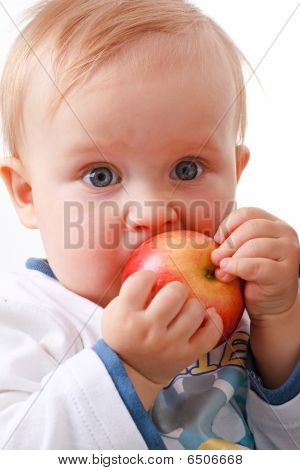 Baby Boy Eats Red Apple