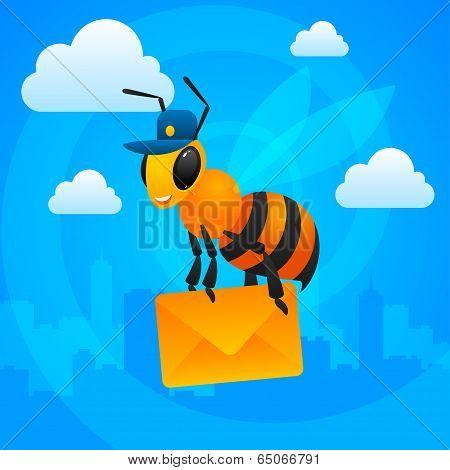 City bee postman holds letter