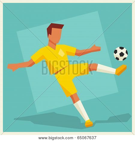 Illustration of soccer player in flat design style.