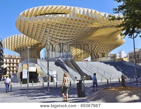 SEVILLE SPAIN-MAY 08 2012: Metropol Parasol in Plaza de la Encarnacion.