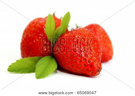Strawberries fruits macro scene
