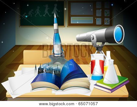 Illustration of a laboratory room with a book and laboratory equipments
