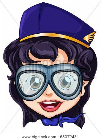 Illustration of a head of an air hostess on a white background