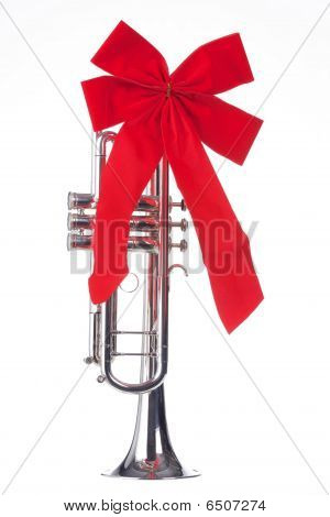 Christmas Trumpet With Bow Isolated