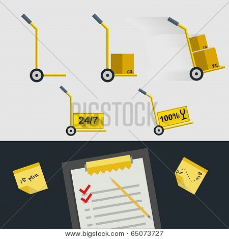 Flat icons for delivery of goods