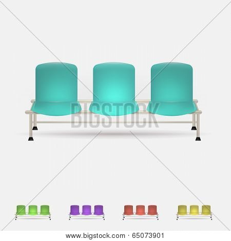 Illustration of colored waiting benches