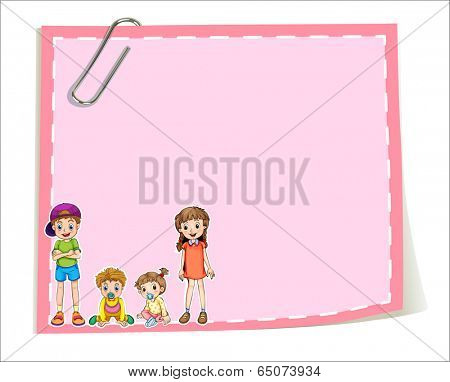 Illustration of an empty paper templates with children on a white background