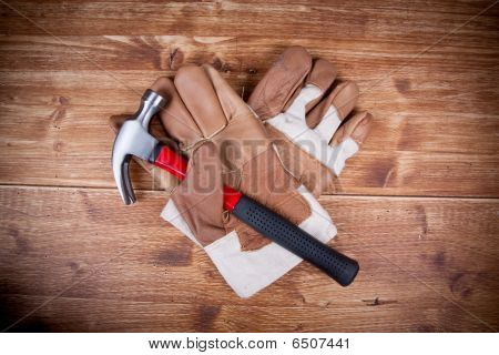 Two Glove And Stell Hammer