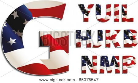 Letters with american flag, isolated on white background