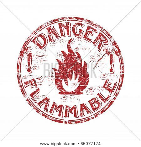 Flammable grunge rubber stamp