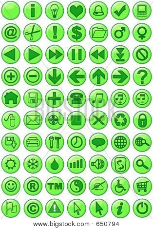 Web Icons In Green