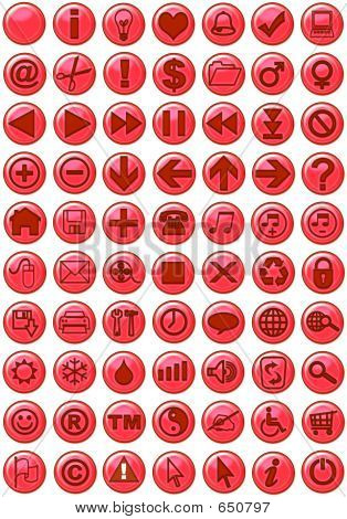 Web Icons In Red