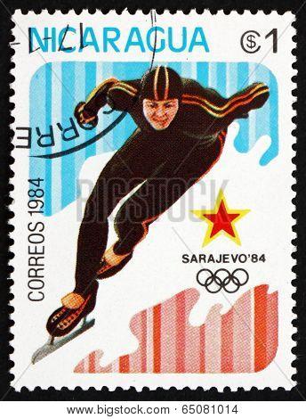 Postage Stamp Nicaragua 1984 Speed Skating, Sarajevo 1992