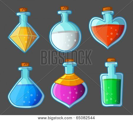 Collection of six magical bottles. Vector illustration. Isolated on dark