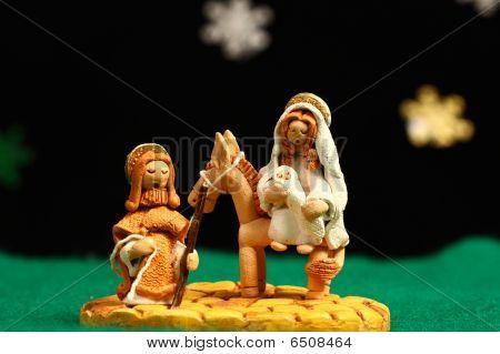 Mary und Jesus über einen Esel