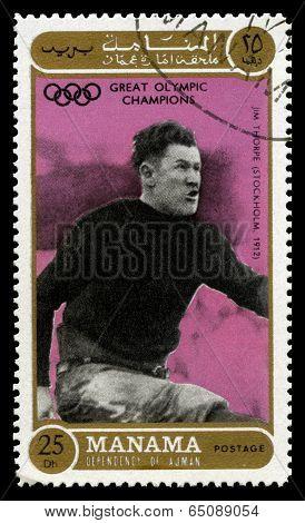 Jim Thorpe Olympic Champion Postage Stamp