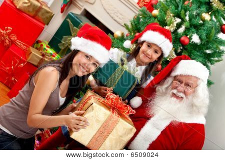 Girls With Santa Claus