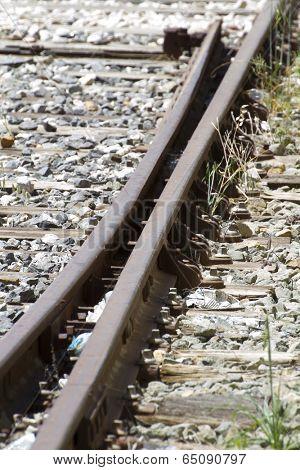 railroad, train rails, detail of railways in Spain