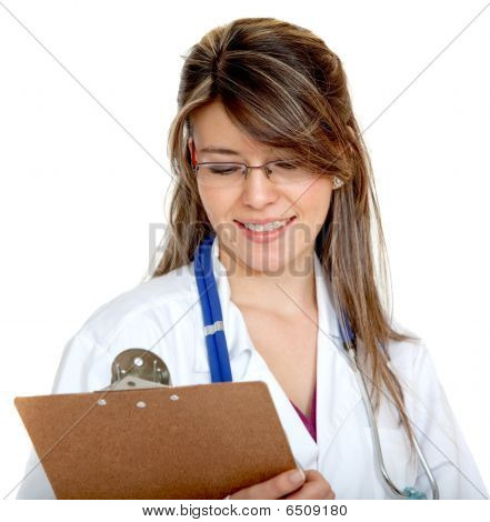 Female Doctor With A Clipboard