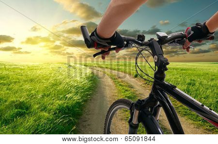 Man with bicycle riding country road