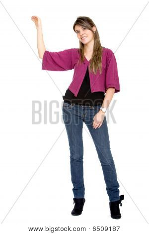 Female Displaying An Imaginary Object