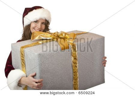 Happy Santa Claus Woman Holding Big Christmas Gift Box