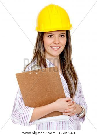 Female Engineering With Helmet