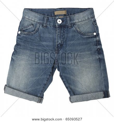 Blue jeans shorts isolated on white background