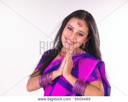 Young girl welcoming happily