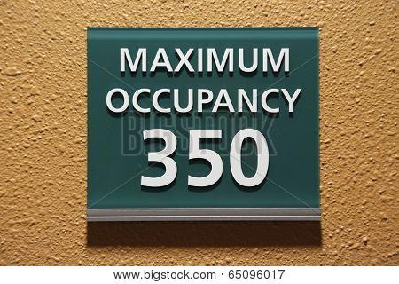 Maximum occupancy 350 sign