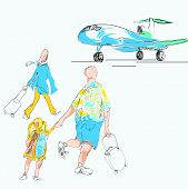 foto of errat  - hand drawn sketch in doodle style of a family late for a plane - JPG