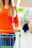 image of grocery cart  - Woman driving shopping cart while grocery shopping in supermarket  - JPG