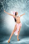 image of samba  - Beautiful young samba dancer in pink stage costume - JPG
