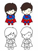 picture of chibi  - Superhero boy and girl vector illustration - JPG