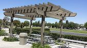 picture of pergola  - Aluminum dining table under light shading pergola Camarillo CA - JPG