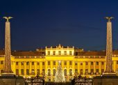 image of schoenbrunn  - christmas fair castle schoenbrunn Vienna trational market at historical background - JPG