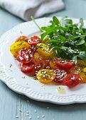 pic of rocket salad  - Cherry Tomato and Rocket Salad with Sesame Seeds - JPG
