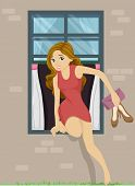 foto of pre-adolescent girl  - Illustration of a Girl Sneaking Out from Her Bedroom Window - JPG