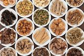 foto of ashwagandha  - Large chinese herbal medicine selection in white china bowls - JPG