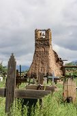 picture of pueblo  - Old belltower from San Geronimo Chapel in Taos Pueblo USA - JPG