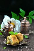 stock photo of baklava  - baklava turkish traditional delight on metallik plate - JPG