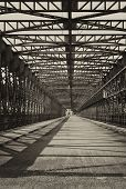 picture of trestle bridge  - Vintage photo of old iron truss bridge  - JPG