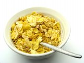 picture of cereal bowl  - bowl of cereal flakes and spoon - JPG