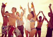 image of beach party  - Group of people party on the beach - JPG