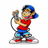 image of crazy hat  - cartoon young people are playing games with the crazy eyes and sticking out his tongue - JPG