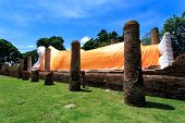 image of recliner  - The white reclining Buddha with blue sky - JPG